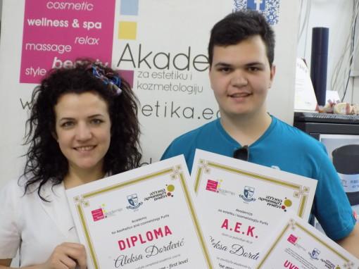 Aleksa Đorđević, akademski kurs masaže, upisane studije za Wellness i spa terapeuta