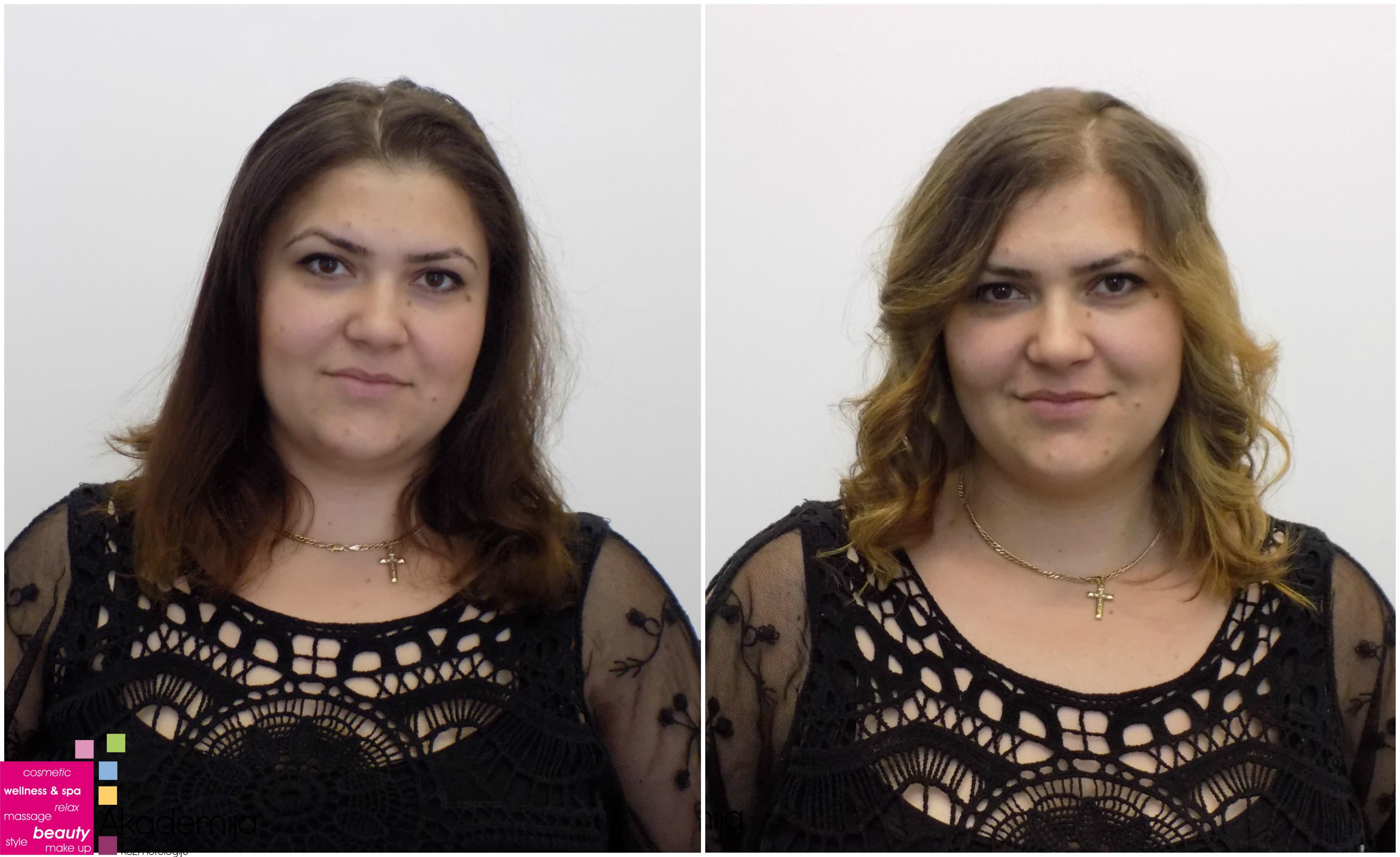 SVETLI PRAMENOVI NA PRIRODNO SMEĐOJ KOSI – polaznici kursa za ženskog frizera na praktičnoj nastavi